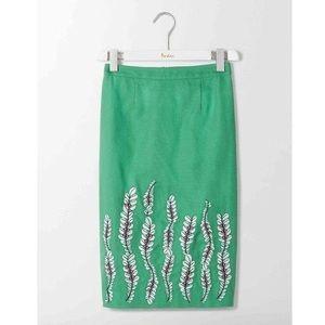 Boden Pencil Skirt  Flowers Green 4 Petite